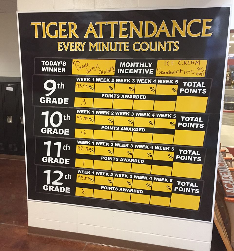 Attendance update board in Smith-Cotton entryway
