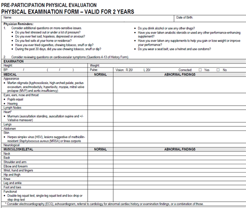 2 year physical exam form