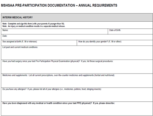 annual 1 year pre-participation form